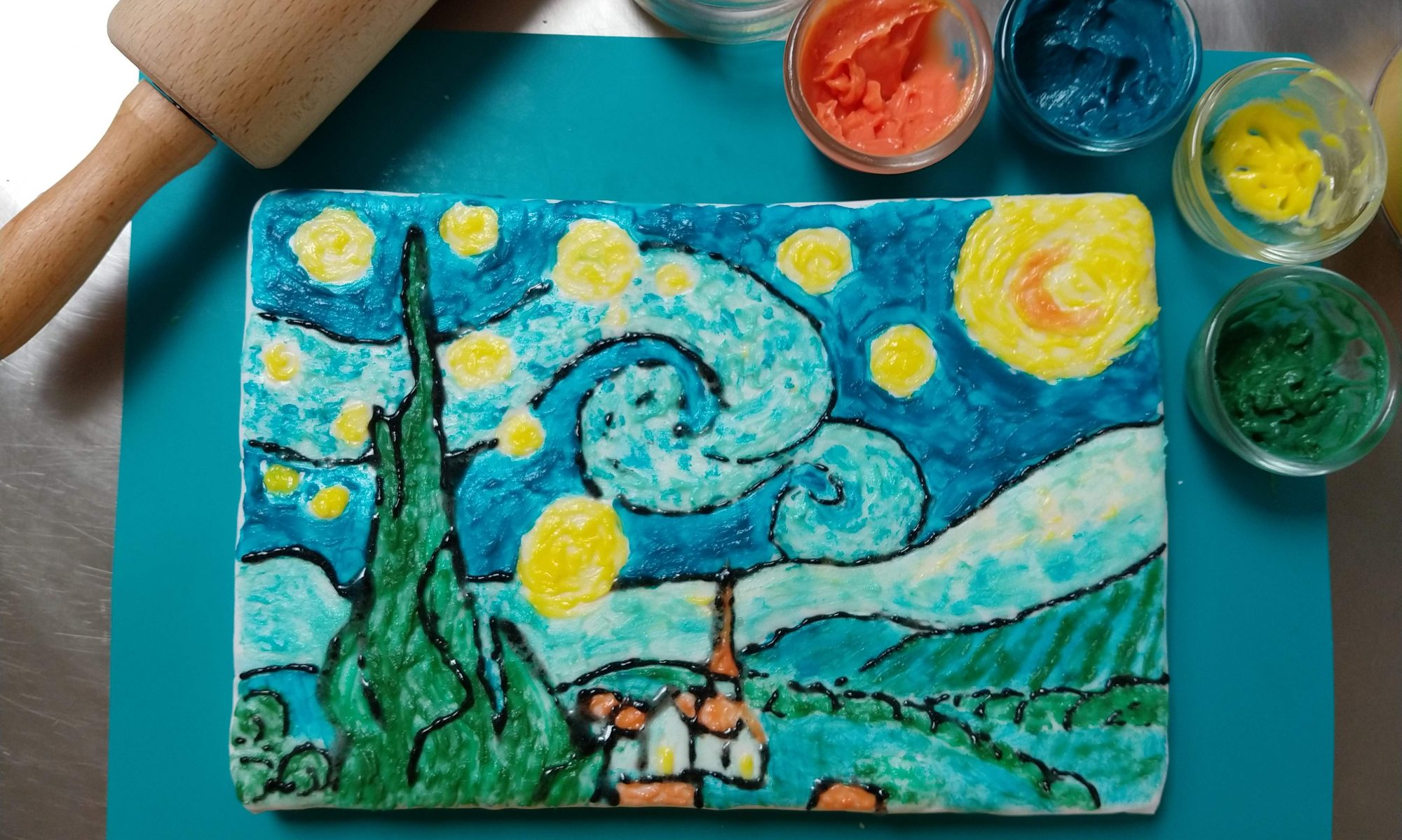 taart schilderen, van Gogh, Vincent van Gogh, Atelier Anders, groeps uitje, familieworkshop